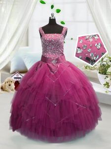Rose Pink Tulle Lace Up Straps Sleeveless Floor Length Pageant Dress Womens Beading and Ruffles