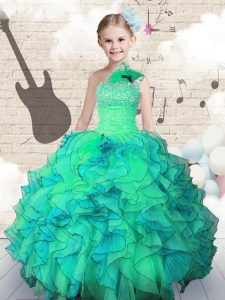 One Shoulder Floor Length Lace Up Pageant Dresses Turquoise for Party and Wedding Party with Beading and Ruffles
