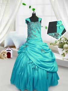 Sleeveless Beading and Pick Ups Lace Up Little Girls Pageant Gowns