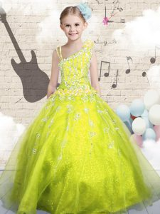 Sleeveless Organza Floor Length Lace Up Little Girl Pageant Gowns in Yellow Green with Beading and Appliques and Hand Made Flower