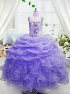 Cheap Lavender Organza Zipper Square Sleeveless Floor Length Kids Formal Wear Beading and Ruffles and Pick Ups