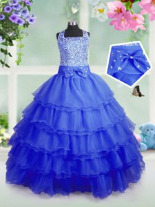Amazing Ruffled Floor Length Royal Blue Pageant Dress Toddler Square Sleeveless Zipper
