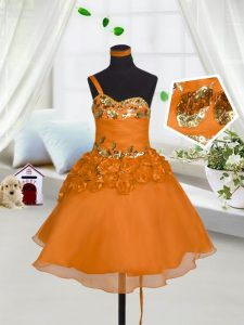 A-line Pageant Dress Wholesale Orange Red Sweetheart Organza Sleeveless Mini Length Lace Up
