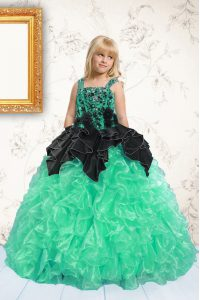 Lovely Apple Green Lace Up Straps Beading and Pick Ups Pageant Dress Wholesale Organza Sleeveless