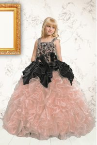 High Quality Sleeveless Lace Up Floor Length Beading and Pick Ups Girls Pageant Dresses