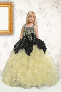 Excellent Champagne Lace Up Kids Formal Wear Beading and Pick Ups Sleeveless Floor Length