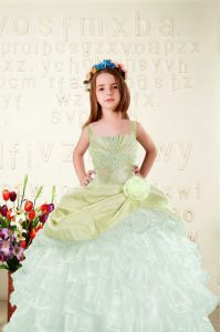 Graceful Sleeveless Organza Floor Length Lace Up Pageant Dress for Teens in Yellow Green with Beading and Ruffled Layers