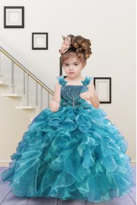 Pretty Beading and Ruffles Little Girls Pageant Gowns Turquoise Lace Up Sleeveless Floor Length