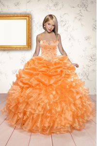 Spaghetti Straps Sleeveless Organza Pageant Dress for Womens Beading and Ruffles and Pick Ups Lace Up