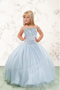 Classical Ball Gowns Pageant Dress for Girls Baby Blue Strapless Tulle Sleeveless Floor Length Lace Up