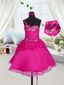Excellent Fuchsia Sleeveless Beading and Hand Made Flower Knee Length Pageant Dress for Womens