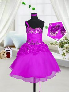 Organza Sleeveless Knee Length Custom Made Pageant Dress and Beading and Hand Made Flower