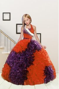Floor Length Purple and Orange Red Little Girls Pageant Dress Wholesale Halter Top Sleeveless Lace Up