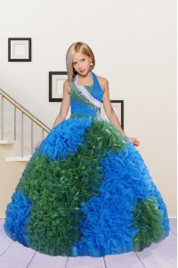 Simple Halter Top Blue and Dark Green Ball Gowns Beading and Ruffles Little Girls Pageant Dress Lace Up Fabric With Rolling Flowers Sleeveless Floor Length