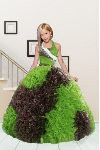 Admirable Halter Top Fabric With Rolling Flowers Sleeveless Floor Length Pageant Dress and Beading and Ruffles