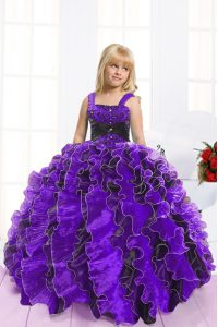 Dazzling Floor Length Ball Gowns Sleeveless Blue And Black Little Girls Pageant Dress Lace Up