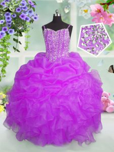 Lovely Fuchsia Lace Up Custom Made Pageant Dress Beading and Ruffles and Pick Ups Sleeveless Floor Length