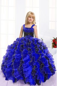 Fantastic Spaghetti Straps Sleeveless Pageant Dresses Floor Length Beading and Ruffles Blue And Black Organza