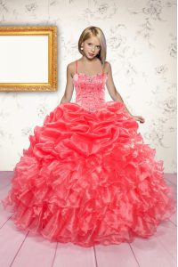 Sleeveless Beading and Ruffles and Pick Ups Lace Up Pageant Dress