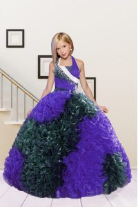 Enchanting Halter Top Floor Length Lace Up Winning Pageant Gowns Dark Green and Eggplant Purple for Party and Wedding Party with Beading and Ruffles