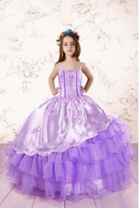 Discount Lavender Spaghetti Straps Lace Up Embroidery and Ruffled Layers Winning Pageant Gowns Sleeveless