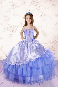Baby Blue Sleeveless Embroidery and Ruffled Layers Floor Length Pageant Dress for Womens