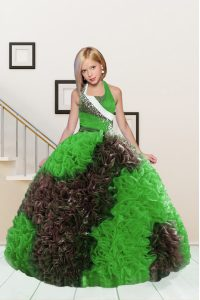 Halter Top Floor Length Ball Gowns Sleeveless Apple Green and Chocolate Evening Gowns Lace Up