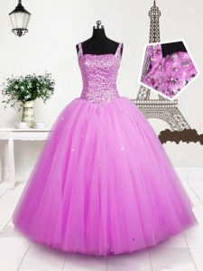 Rose Pink Ball Gowns Beading and Sequins Little Girls Pageant Dress Lace Up Tulle Sleeveless Floor Length