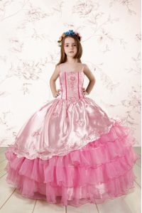 Ruffled Ball Gowns Winning Pageant Gowns Rose Pink Spaghetti Straps Organza Sleeveless Floor Length Lace Up