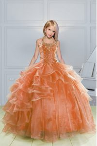 Beauteous Halter Top Sleeveless Evening Gowns Floor Length Beading and Ruffles Orange Organza