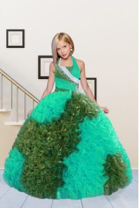 Affordable Green Ball Gowns Halter Top Sleeveless Fabric With Rolling Flowers Floor Length Lace Up Beading and Ruffles Winning Pageant Gowns