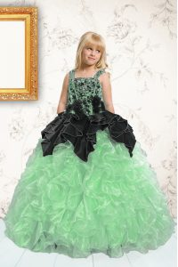 Apple Green Sleeveless Floor Length Appliques and Pick Ups Lace Up Pageant Dress for Womens
