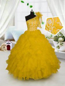 Gold One Shoulder Side Zipper Embroidery and Ruffles Little Girls Pageant Gowns Sleeveless