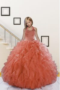 Halter Top Organza Sleeveless Floor Length Little Girls Pageant Gowns and Beading and Ruffles