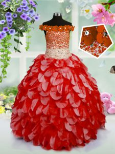 Attractive Off the Shoulder Beading and Hand Made Flower Little Girl Pageant Dress Red Lace Up Sleeveless High Low