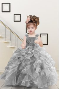 Excellent Straps Sleeveless Organza Little Girls Pageant Dress Beading and Ruffles Lace Up