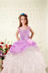Customized Fuchsia Ball Gowns Organza Straps Sleeveless Beading and Ruffled Layers and Hand Made Flower Floor Length Lace Up Pageant Dress Wholesale