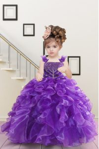 Dramatic Floor Length Lace Up Pageant Dress for Teens Purple for Military Ball and Sweet 16 and Quinceanera with Beading and Ruffles