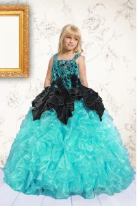 Fashion Aqua Blue Sleeveless Beading and Pick Ups Floor Length Pageant Gowns For Girls