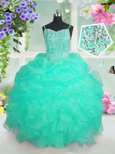 Pick Ups Spaghetti Straps Sleeveless Lace Up Pageant Dresses Turquoise Organza
