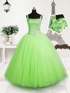 Sequins Apple Green Sleeveless Tulle Lace Up Little Girls Pageant Gowns for Party and Wedding Party