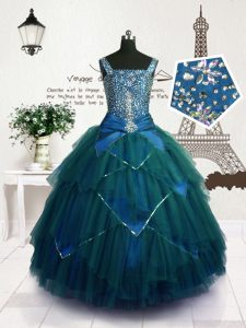 Sleeveless Floor Length Beading and Belt Lace Up Little Girls Pageant Dress Wholesale with Teal