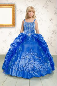 Inexpensive Pick Ups Ball Gowns Little Girls Pageant Dress Wholesale Blue Spaghetti Straps Satin Sleeveless Floor Length Lace Up