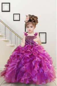 Mermaid Fuchsia Organza Lace Up Little Girl Pageant Gowns Sleeveless Floor Length Beading and Ruffles