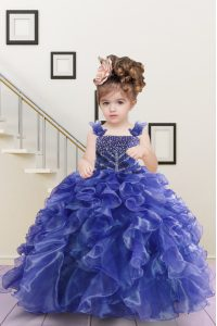 Navy Blue Sleeveless Floor Length Beading and Ruffles Lace Up Pageant Dress for Girls