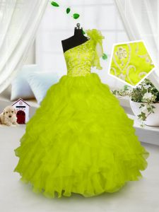 One Shoulder Sleeveless Embroidery and Ruffles Lace Up Little Girls Pageant Gowns