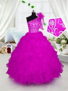 Eye-catching One Shoulder Short Sleeves Lace Up Floor Length Appliques and Ruffles Little Girls Pageant Gowns