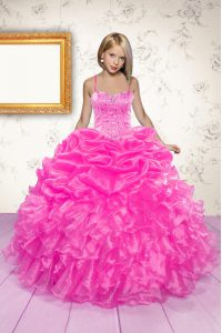 Hot Pink Sleeveless Floor Length Beading and Ruffles and Pick Ups Lace Up Pageant Dresses