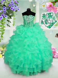 Cheap Turquoise Sweetheart Lace Up Ruffled Layers and Sequins Pageant Dresses Sleeveless