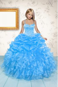 Baby Blue Sleeveless Floor Length Beading and Ruffles and Pick Ups Lace Up Pageant Dress Womens